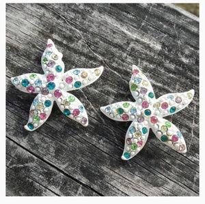 Jewelry - Beautiful White Enamel & Crystal Starfish Earrings